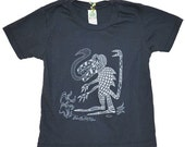Toddler 4T - Organic -  Funky Monster - Alternative Apparel - Earth Coal -  T Shirt by BeastlyBeasties