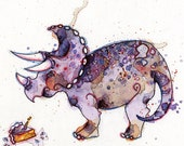 "Dinosaur Birthday Greeting Card // Blank Illustrated Animal Party Celebration Friendship Happy Birthday Anniversary Gift Card 4"" x 5"""