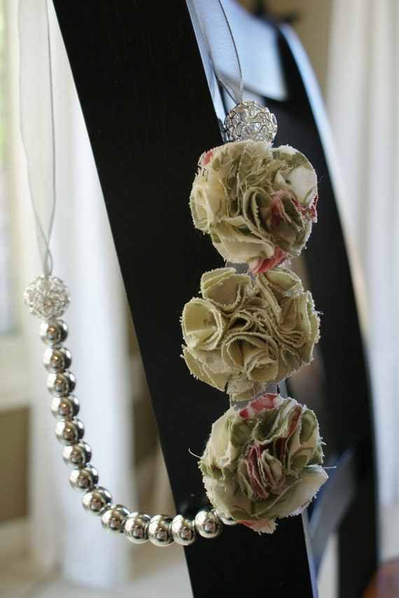 """The """"Chloe"""" Rosette Necklace - Cream, Pink and Green Rosettes with silver beads"""