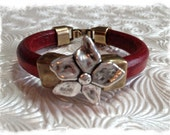 Regaliz Leather Bracelet - Metal Beads - Bordeux Greek Leather