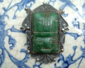 Mexican Sterling and Jade Pin