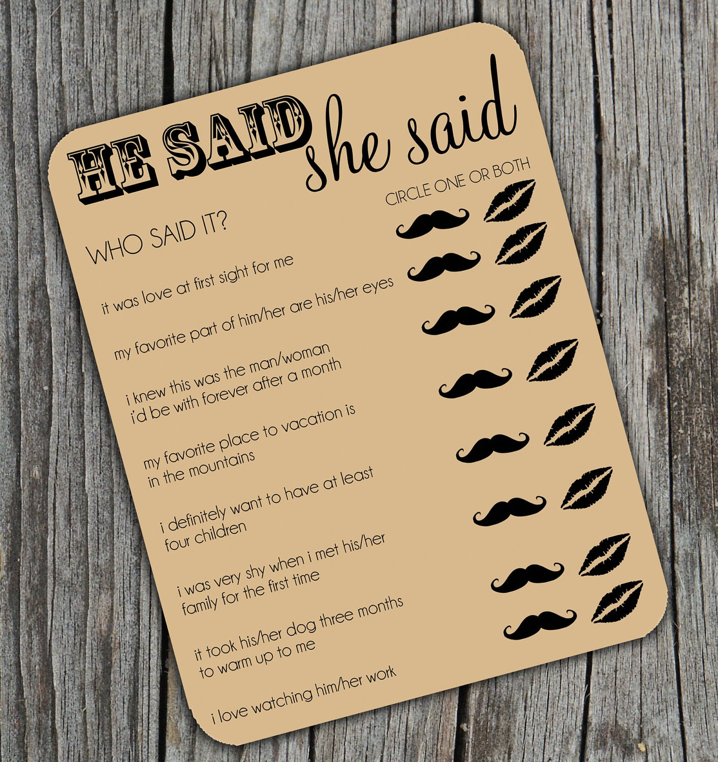Wedding Games Ideas: Reserved He Said She Said Bridal Shower Activity Game By