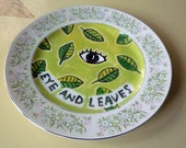 eye and leaves china plate hand painted reworked