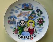 Tourist Family in Bermuda china plate