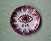 eye china plate hand painted altered