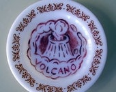 volcano milk glass plate hand painted reworked
