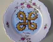 thorn china plate hand painted reworked