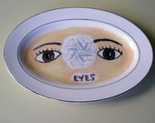 eyes china plate hand painted reworked