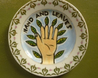 hand and leaves china plate hand painted reworked