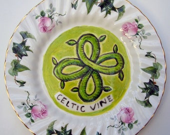 celtic vine hand painted reworked china plate
