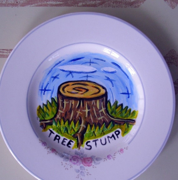 tree stump china plate hand painted reworked