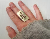 SALE Fern Rectangle Cutout Ring in Brass & Sterling