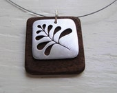 Fern Square Cutout Neckwire Necklace in Walnut Wood -- Modern Woods
