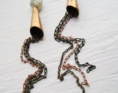 Honey Dripping Hipster  Vintage Brass and Copper Chain Earrings - Circa Series