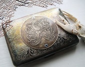 Octopus Brass Etched Wallet / Cigarette Case in Steampunk Victorian  -- Acid Bath Series