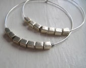 Silver Hoops with Silver Square Beads - Circa Series