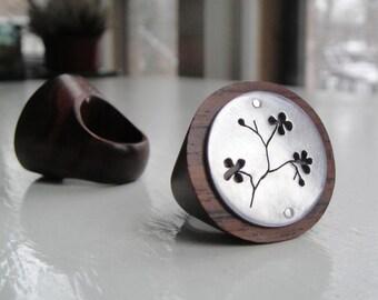 Sakura Branch Round Cutout Wood Ring -- Modern Woods