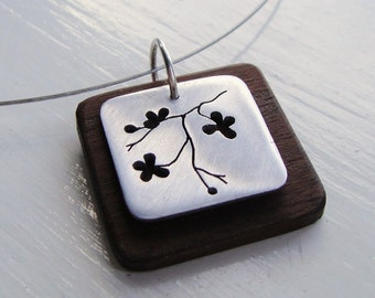 Sakura Square Cutout Wood Neckwire Necklace -- Modern Woods