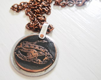 SALE Snake Etched Coin Necklace - Acid Bath Series