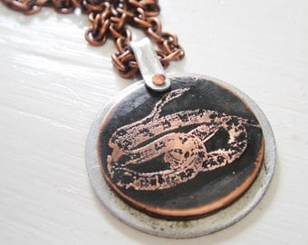 SALE Snake Etched Coin Necklace - Acid Bath Series