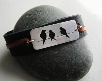 Birds on a Wire Cutout Metal & Leather Cuff Bracelet