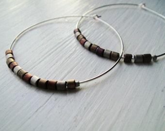 Silver Hoop Earrings with Multi Color Metallic Beads - Circa Series