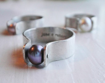 Black Pearl Rivet Ring -- Genuine Cultured Pearl