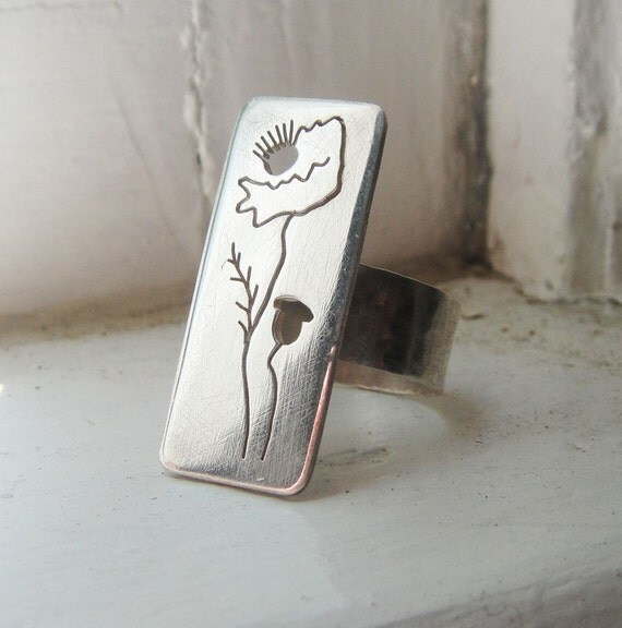 SALE Poppy Rectangle Cutout Ring
