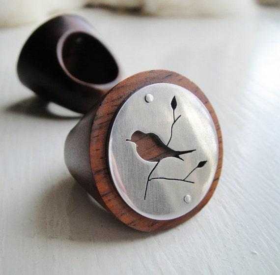 Fat Bird on Branch Cutout Round Wood Ring  -- Modern Woods