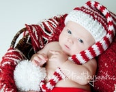 Hand Crochet Christmas Elf Hat or Santa Hat in Red and White