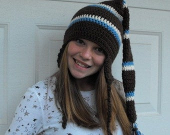 Hand Crochet Elf  Hat with Ear Flaps for Youth or Teen