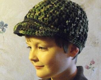 Handmade Crochet Camoflage Skater Hat