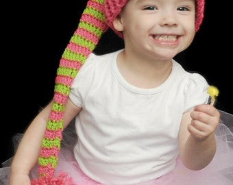 Crochet Toddler or Baby Elf Hat Photo Prop  Pink and Green
