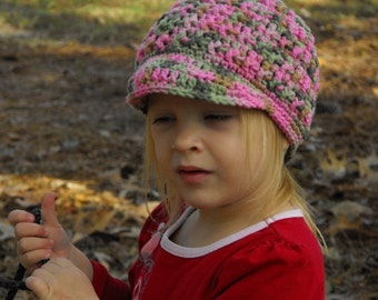 Child's or Toddler Hat with Brim in  Pink and Green  Camo Crochet
