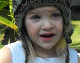 Hat with  Ear Flaps with Matching Mitten Set for Children's or Toddler Hand Crochet