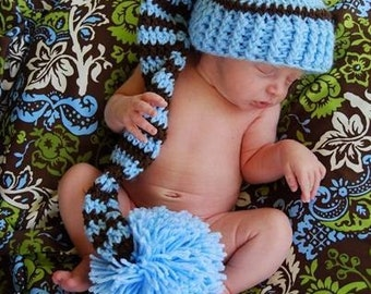 Photo Prop Crochet Newborn Baby Elf Hat Blue and Brown