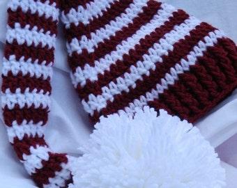Hand Crochet Elf or Santa Hat Mississippi State