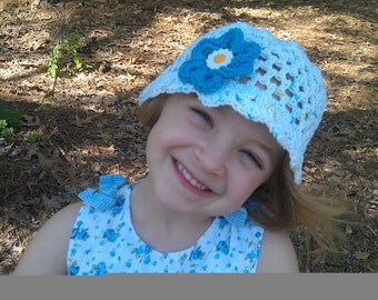 Girls Spring Hat With Big Flower in Blue, Easter