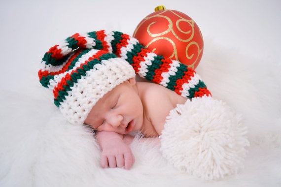 Hand Crochet Elf or Santa Hat in Red, Green and White