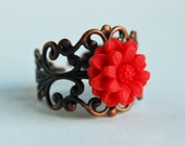 Antique bronze filigree ring with red flower