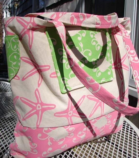 Tote Bag Beach Large Canvas Bag Starfish Crab Print Pink Green
