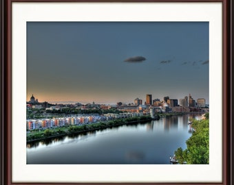 St. Paul, MN Riverfront Skyline - Fine Art Print