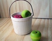 Bucket of Apples. Natural Wooden Play set for Autumn
