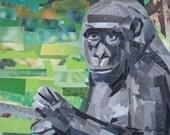 Portrait of a Gorilla, 5x7 ORIGINAL COLLAGE ART
