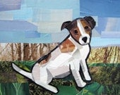 Jack Russell Terrier, 5x7 inch ORIGINAL COLLAGE ART