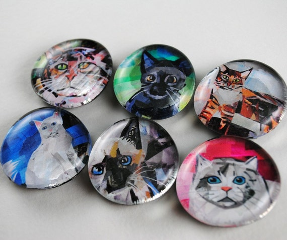 Cat Bubble Magnets, Set of 6