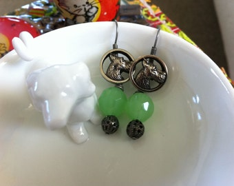 Green Glass Bead Scotty Earrings