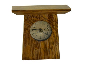Mission Oak Desk Clock