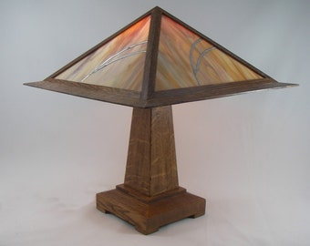 Table Lamp Mission Prairie Oak and Stained Glass