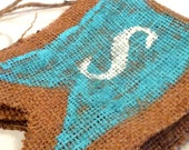 SPRING Burlap Banner Hand Painted with Turquoise and White Lettering SALE
